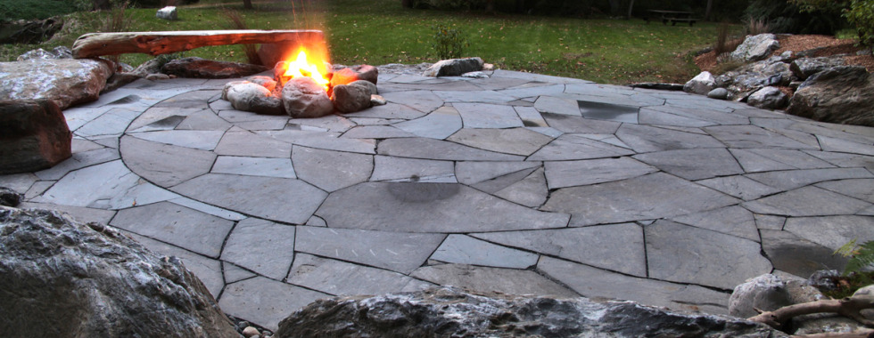 Indian Run Landscaping Natural Flagstone Patio with Fire Pit | Indian Run  Landscaping - Indian Run Landscaping Natural Flagstone Patio With Fire Pit