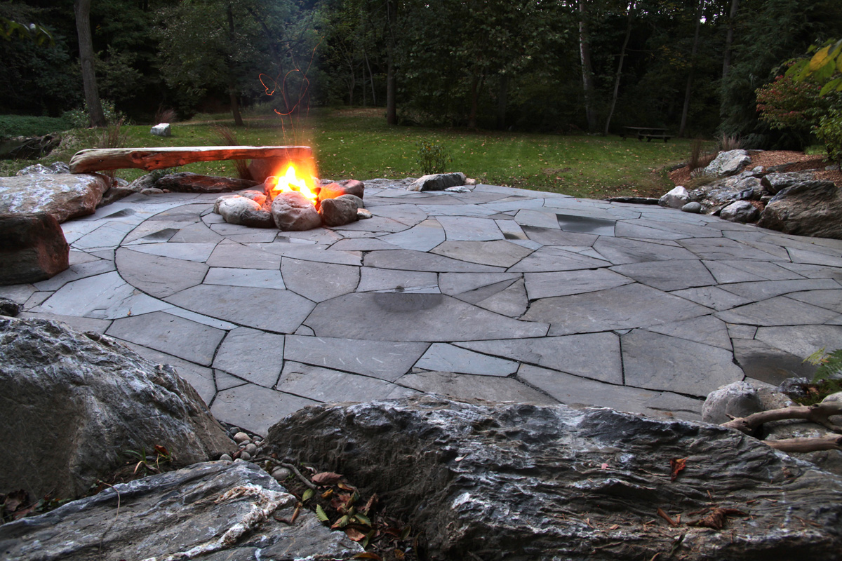 Indian Run Landscaping Natural Flagstone Patio With Fire Pit | Indian Run  Landscaping