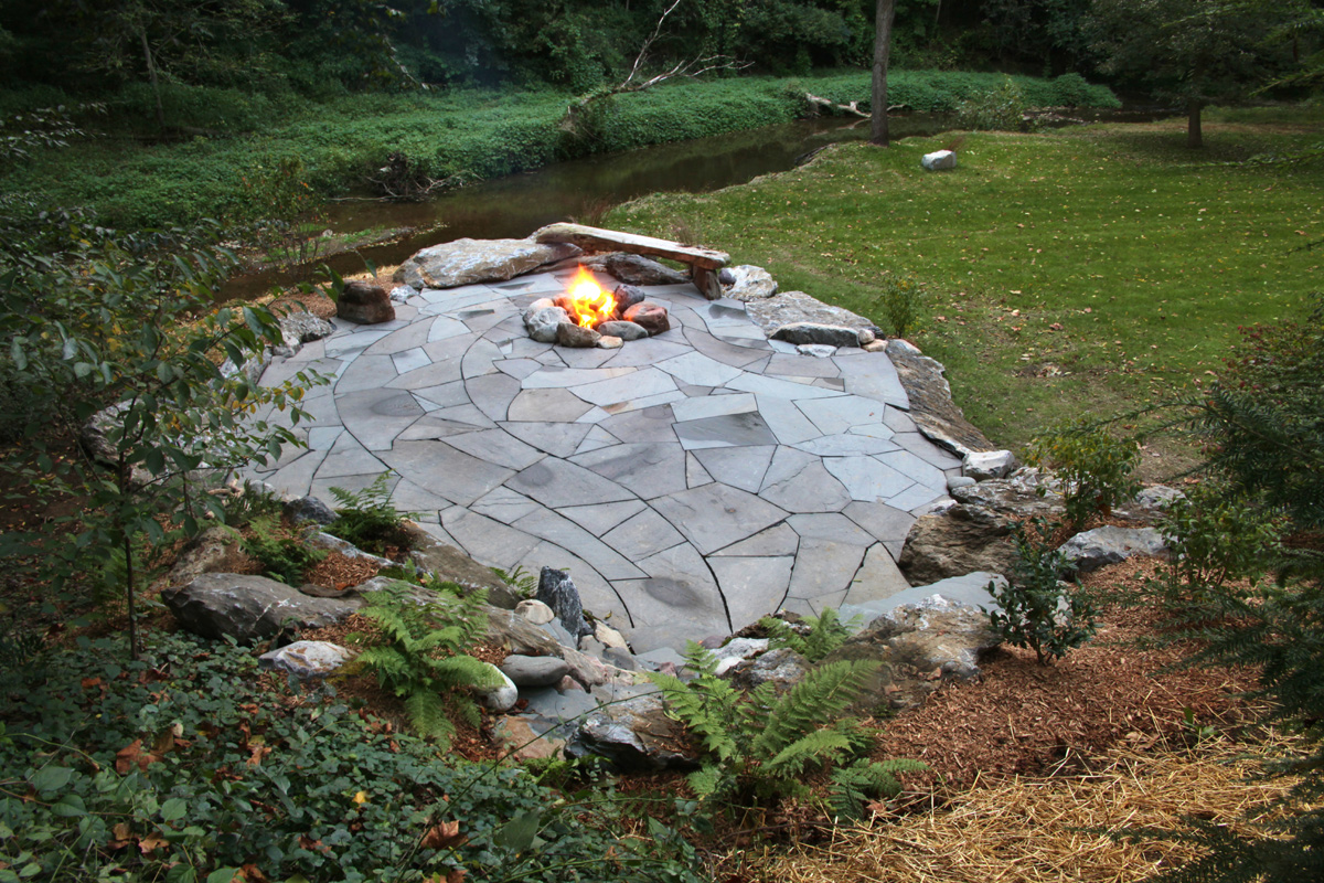 Firepit In Natural Flagstone Patio